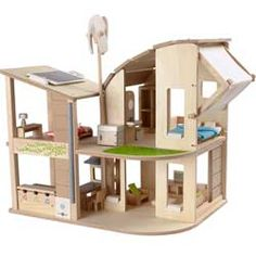 Energy efficiency is the theme to the green eco dolls house for boys and girls. As an educational house this futuristic open plan home will fascinate the imagination of children from recycling their waste to engineering their own energy resources.