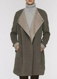 Asymmetric Two-Tone Coat  by Vince