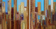 Urban Life, diptych 36 x 72 inches, oil.