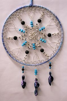 Crystal Dreamcatcher- Turquoise, lava and silver- funky and functional. £19.00, via Etsy.
