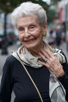 "RUTH, NYC - CAN YOU BELIEVE THIS WOMAN IS 100 YEARS OLD?  Her name is Ruth, and she was just leaving her Pilates class in the Upper West Side of NYC. Her best beauty advice is from Elizabeth Arden: ""If you want to look this good when you are 40, start when you are 20."" She should know....she was getting ready to go to Bermuda.... with her boyfriend."