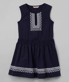 Look at this Sophie & Sam Mazarine Blue Drop-Waist Dress - Infant, Toddler & Girls on #zulily today!