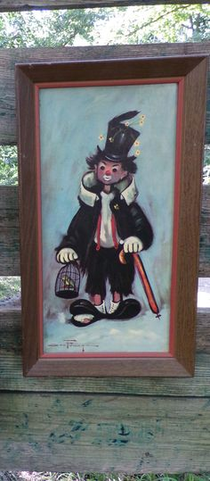 RETRO 1960's OZZ FRANCA Big Eyed Hobo Clown W Top Hat Picture Original Frame Child Nursery Whimsical Kitsch Funky Goth Dark Angry Clown via Orphaned Treasures Etsy