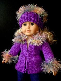beginner level KNITTING Pattern for American Girl 18 inch Doll with Video Purple Rain (21)