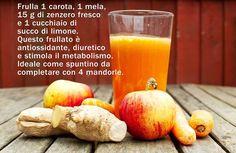 Frulla 1 carota, 1 mela, 15g di zenzero fresco e 1 cucchiaio di succo di limone. Questo frullato è antiossidante, diuretico e stimola il metabolismo. Ideale come spuntino da completare 4 mandorle