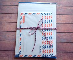 Air mail writing set, stationary set, writing set with ribbon, airmail stationary, airmail letter set, airmail supplies, by PinkyPromiseBargains on Etsy