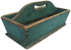 19th century Cutlery Tray with heart cut out handle  and the original dry green paint signed J.W.F. on side nailed construction with square head nails