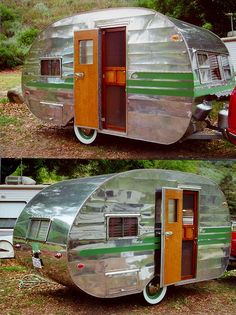Awesome Ideas Canned Ham Camper. A campervan is a certain sort of camping car. The campervan is going to be known as a motor caravan in the united kingdom. The campervan is going to b. Tiny Trailers, Vintage Campers Trailers, Retro Campers, Vintage Caravans, Trailers For Sale, Camper Trailers, Vintage Motorhome, Classic Trailers, Vintage Airstream