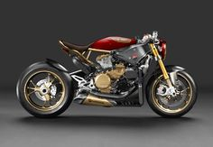 Look rétro pour ce monstre de technologie qu'est la Ducati 1199 Panigale. Quelques ajouts de dorure et une robe allégée au maximum lui donne un tout autre caractère.
