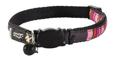 Rogz Catz NeoCat Small 1/8' Breakaway Cat Collar, Black Candy Stripes Design * Discover this special cat product, click the image : Cat Collar, Harness and Leash