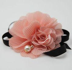 Handmade Pleated Flower Blossoms Black Bow Gift  Elastic Ponytail Holder  #veryshine #ponytailholder #hairaccessories #flowerponytail
