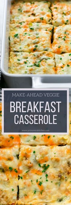 Recipes Breakfast Casserole This Make-Ahead Veggie Breakfast Casserole is loaded with veggies, cheese, eggs, very easy to make and is a perfect healthy breakfast for Christmas morning! Vegetarian Breakfast Casserole, Veggie Casserole, Healthy Casserole Recipes, Healthy Breakfast Recipes, Vegetarian Recipes, Healthy Recipes, Casserole Kitchen, Breakfast Crockpot, Easy Recipes