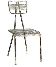 Jern stol - antik hvid - Nordal
