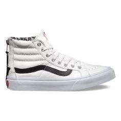 Vans Leather Slim Zip (true white/snow leopard) from Vans. Shop more products from Vans on Wanelo. Vans Sneakers, Vans Shoes, Women's Shoes Sandals, Shoe Boots, Shoe Bag, Vans Sk8 Hi Slim, Leather Vans, White Leather, Latest Shoe Trends