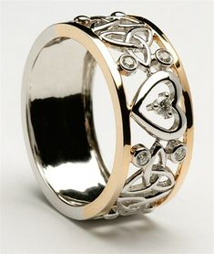 Unisex Diamond Encrusted Two Tone Heart and Trinity Celtic Wedding Ring « Really like this.