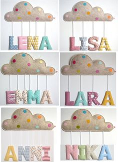 Baptism or birth gift: name decoration / door plate with little cloud and fabric letters Namensschild Wolke ab 49 f. Baby Sewing Projects, Sewing Projects For Beginners, Sewing Crafts, Fabric Scrap Crafts, Summer Crafts For Kids, Gifts For Kids, Baby Crafts, Felt Crafts, Name Decorations