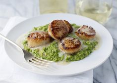 Seared Scallops with Beurre Blanc and Pesto Pea Puree - Baked Bree