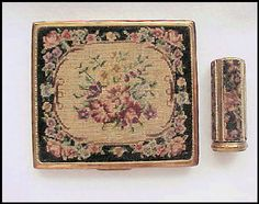 BLISS BROS CO.1940s era petit point cigarette case and matching lipstick case.