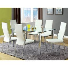 Furniture of America Zeino 7 Piece Glass Top Dining Set - White - IDF-8319T-8310WH-SC