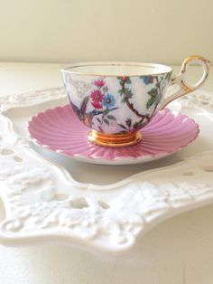 Vintage English Bone China Old Royal Footed Teacup Set