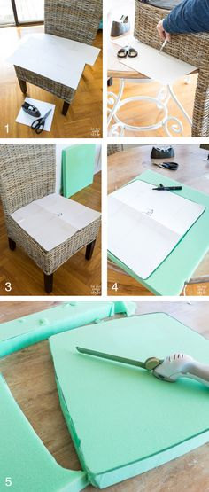 DIY Chair Cushions for My Kitchen Looking for an easy way to make affordable chair cushions and covers for dining chairs? This tutorial will show you how to make dining chair cushions that are easy using sew and no-sew methods. Kitchen Chair Pads, Dining Chair Pads, Dining Room Chair Cushions, Adirondack Chair Cushions, Wicker Dining Chairs, Slipcovers For Chairs, Room Chairs, Bag Chairs, Cushions For Patio Chairs