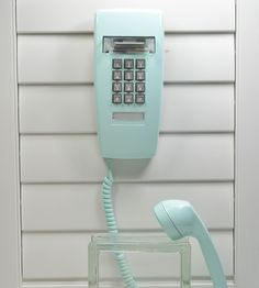 Vintage Wall Telephone - Turquoise Blue