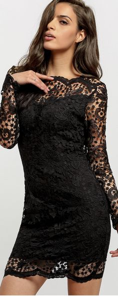 What better time than now to treat yourself to a new cocktail-ready ensemble like the Swoon-er or Later Black Long Sleeve Lace Dress! Sheer black eyelash lace is backed by nude knit throughout a fitted bodice with V neckline, and modesty hook closures. Sheer lace continues into elegant long sleeves, while medium-weight knit takes over to shape a fitted waist and bodycon skirt. Hidden back zipper. Hand Wash Cold. Imported.