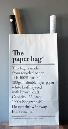 Paperbag Le Sac En Papierpaperbag Made Out Of Recycled Paper With An English And A French Side