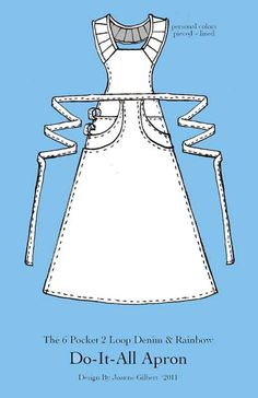 DO-it-all Apron [No pattern available. Idea is great! Retro Apron, Aprons Vintage, Vintage Sewing, Sewing Aprons, Sewing Clothes, Diy Clothes, Sewing Hacks, Sewing Crafts, Sewing Projects