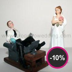 """Cake topper """"Sposo Tv"""" + Sposa in OMAGGIO in resina porcellanata dipinti a mano. www.progettowedding.com"""