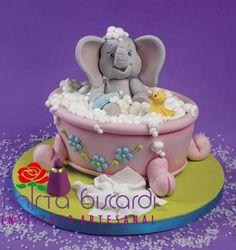 Baby Elephant taking a bubble bath Baby Cake