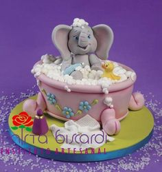 Baby Elephant taking a bubble bath Baby Cake