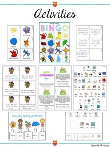 Speechy Musings: Plan ahead with this huge spring packet! Filled with materials for your ENTIRE caseload including many activities with visuals! Activities, reinforcers, file folder activities, homework, games, worksheets, and MORE!