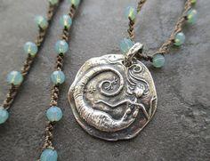 Mermaid crochet necklace UnderWater Wonder blue by slashKnots