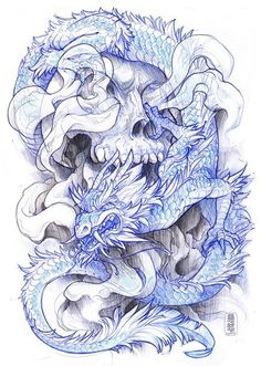 Skull and dragon tattoo design. #tattoo #tattoos #ink