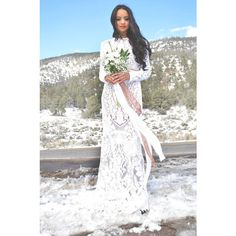 Vintage Sheer Lace Long Sleeves Hippie Boho Bohemian Mini Train... ($648) ❤ liked on Polyvore featuring dresses, silver, women's clothing, white boho dress, maxi dresses, white long sleeve dress, vintage white dress and vintage dresses