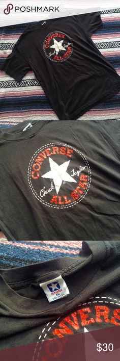 """Authentic Vintage Converse Tee AAAAHHH this is so awesome!! An authentic vintage converse tee shirt with their iconic logo. Made in the USA, soft worn in vintage cotton.. The tshirt of a lifetime! Lol! ☕️ flat measurements ☕️ bust: 19"""" // hip : 19.5"""" // waist: 18"""" // sleeve: 7.5"""" // length: 25"""" from shoulder to bottom // shoulders: 18.5"""" // tag says size XL, I believe it's a women's XL Vintage Tops Tees - Short Sleeve"""
