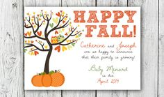Digital Autumn Happy Fall Pregnancy Announcement Customizable Card* on Etsy, $14.00