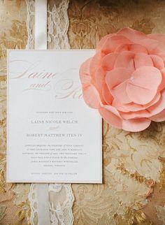 Gorgeous pink / peach wedding invitation!! // Photo: Jodi Miller Photography, Invitations: Minted