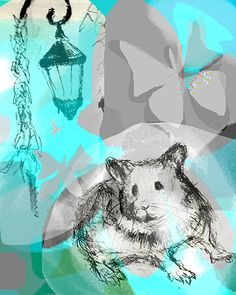 art print illustration blue hamster lost and found by ImYourNonny, $15.00