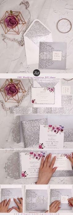 Silver and Purple floral pocket laser cut wedding invitations EWWS182