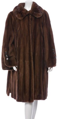 Brown Alixandre mink fur long coat with notched lapel, dual slit pockets at sides and concealed hook closures at center front. Unfortunately, due to restrictions, this item may not be eligible for shipping in all areas. Yves Saint Laurent, Langer Mantel, Mink Fur, Top Coat, My Size, Collars, Collection, Stylish, Sleeves