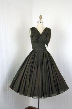 steam punk chiffon | ... - Vintage 50s Dress - Dark Chocolate Chiffon Draped Rhinestones