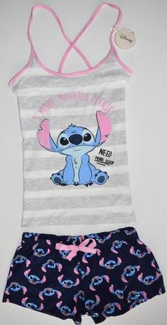 8aae330e21 LILO AND STITCH VEST SHORTS PYJAMAS PJ SET PRIMARK Womens Ladies UK Sizes 4  - 16