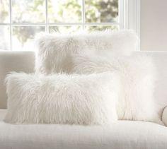"Mongolian Faux Fur Pillow Cover - Ivory   Pottery Barn 12"" x24"" lumbar"
