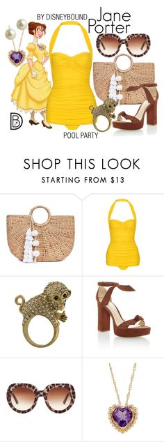 """""""Jane Porter"""" by leslieakay ❤ liked on Polyvore featuring JADE TRIBE, Norma Kamali, Miso, Alexandre Birman, Dolce&Gabbana, Lord & Taylor, Carolee, disney, disneybound and disneycharacter"""