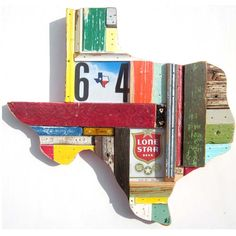 DIY - state of Texas wall art collage - wood scraps, Lone Star beer can, license plate  #recycle