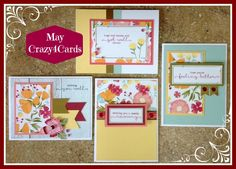 4 get well cards by Mary Thompson using CTMH Happy Times paper