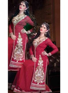 Delightful #Maroon #Embroidered #Suit With Lace & Resham Work