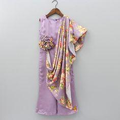 Pre Order: Lavender Jumpsuit With Attached Drape Dresses For Tweens, Stylish Dresses For Girls, Dresses Kids Girl, Girls Party Wear, Party Wear Indian Dresses, Kids Wear, Kids Indian Wear, Kids Ethnic Wear, Kids Frocks Design